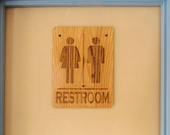Restroom Sign , Bathroom Sign , Water Closet Sign, Wood Restroom Sign