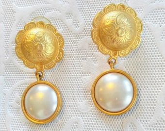 GORGEOUS Large Vintage Gold and Faux Pearl Pierced Earrings-Signed JS-Shabby Chic-White, Dangle-All Orders Only 99c Shipping!!