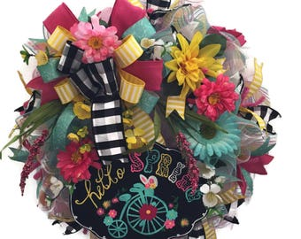 Welcome Spring Wreath, Bicycle Welcome Wreath, Spring Poly Deco Mesh Wreath, MultiColor Spring Wreath, Door Wreath, Indoor Spring Wreath