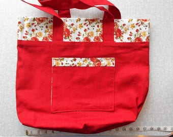 Red Rose Linen Tote Bag