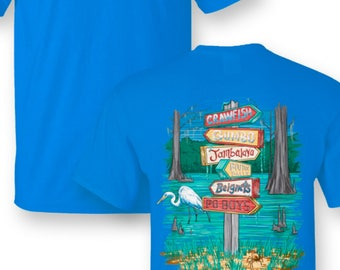 Southern Jack Louisiana food tour comfort color pocket tee NEW