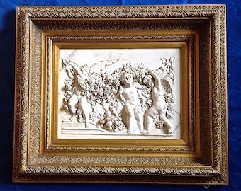 Signed Francois Duquesnoy Carved marble Plaque Paris 1892, in Original Frame Summer Sale Reduced.