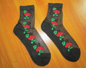 Lacy elegant black socks, rose detail, free US shipping
