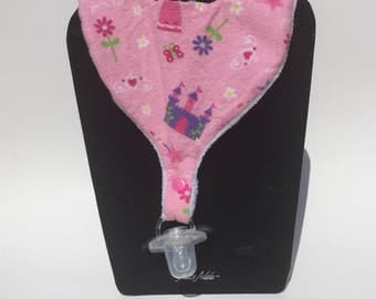 Princess Bib, Pink Flannel Bib, Pacifier Bib, Teether Bib, Binky Bib, Infant Bib, Toddler Bib