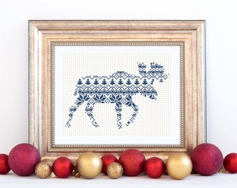 Moose Cross Stitch Pattern Gift Xmas Instant Download PDF Holiday Design Nordic Christmas Style Scandinavian Forest Animal Festive Decorate