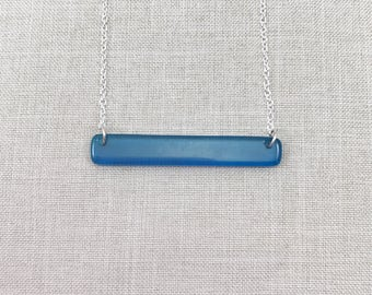 Upcycled Mom Gift - Colorful Layering Necklace - Girlfriend Gift - Minimalist Jewelry - Bar Necklace For Women - Blue Necklace - Glass Bar