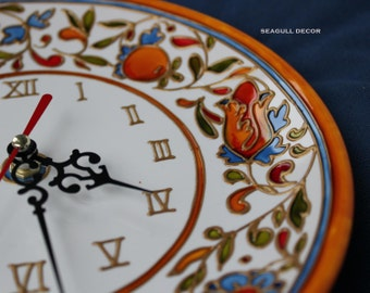 Wall clock Majolica Kitchen clock Home decor Porcelaine clock for kitchen Present for Christmas Wall decor