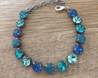 Swarovski Crystal 8mm Bracelet Ocean tones