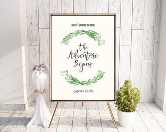 Personalized Printable Greenery Wedding Welcome Poster