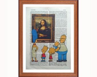 The Simpsons vs Leonardo da Vinci - the Mona Lisa - dictionary art print home decor present gift christmas