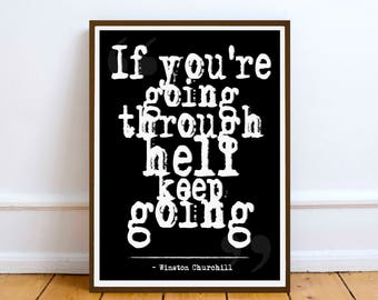 Winston Churchill Inspiration / Motivation quote poster wall art print. Winston Churchill.