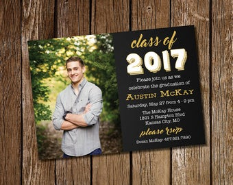 Black & Gold Graduation Party Invitation