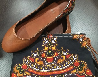 Tribali limited edition Handmade bag and shoes set leather and etnic fabric