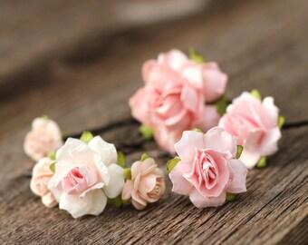 Blush Pink Bobby Pins Hair Set, Pale Pink Floral Hair Pins, Flower Hair Pins, Wedding, Bobby Pins, Bridal Hair Pins, Small Rose Hair Pins