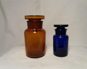 Vintage Two Glass Apothecary's Jars - Amber Glass