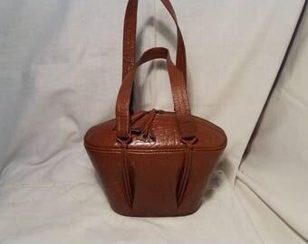 Vintage Brown Leather Elliptical Handbag - NEW