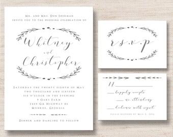 Rustic Grey Wedding Invitation & RSVP Card- PRINTABLE - Digital Files