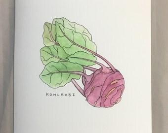 Kohlrabi - Garden Vegetable Print (unframed) A4