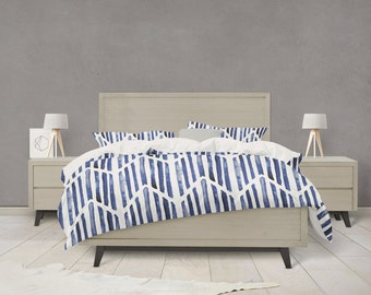 Indigo match stick arrow tribal pattern duvet cover
