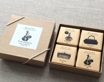 Rose Geranium soap Gift Set, vanity gift set, Vintage soap gift set, Bridesmaid soap gift box, Bridal shower gift, Bachelorette party favors