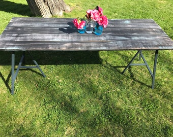 Sacramento Handpainted Rustic Modern Outdoor Dining Tables Simple Portable Wood Plank & Metal Trestle