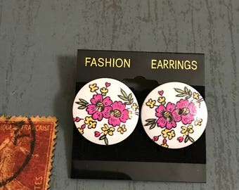 Large Flowers Button Post Earrings