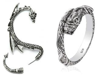 One Dragon Ear Cuff and One Dragon Ring - Ring made of 925 Sterling Silver Alloy Gift Set Idea Birthday Christmas by Serebra Jewelry