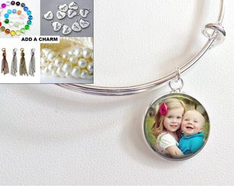 Custom BABY Child Photo Charm Bangle Stack Bracelet -Add Birthstones- Gift from husband from daughter