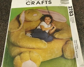 McCall's 2783 Sewing Pattern Children Chair Overstuffed Chair Stuffed Floor Cushion Rabbit Bunny Nursery Play Family  Room  Uncut FF New