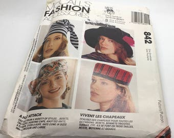 McCalls Fashion Accessories 842 6661 Hats Berets Crushers Hunting Caps Knotted Knits Turban Kute Small Medium Large  Costume Dress Up Uncut