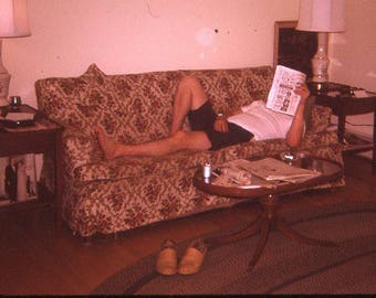Vintage 35mm Slide Photo Kodachrome Man On Couch Reading Magazine