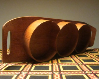 Mid Century Modern pressed wood Surfboard Teak Serving Tray with Three woody Bowls - Made in Denmark - 1970s