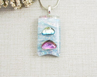 Small Blue, Pink and Green Fused Dichroic Pendant - Pale Blue Glass Jewelry - Small Dichroic Glass Pendant