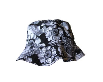 black and white floral bucket hat