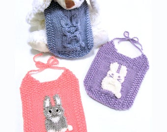 Knit Pattern Download - Baby Bunny Bibs - Baby Shower Gift
