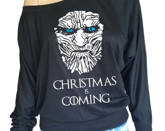 Game of Thrones White Walker Christmas is coming off the shoulder long sleeve top