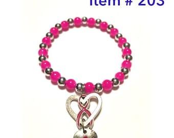 Surviver Breast Cancer Awareness beaded bracelet