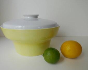SALE Paul McCobb Jackson InternationaleContempri Eclipse Yellow & White Medium Covered Casserole Dish Bowl