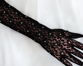Black Long gloves, Rhinestone gloves, Bridal gloves, Wedding gloves, Lace gloves, Floral gloves, Elbow length gloves, Evening gloves,Mittens