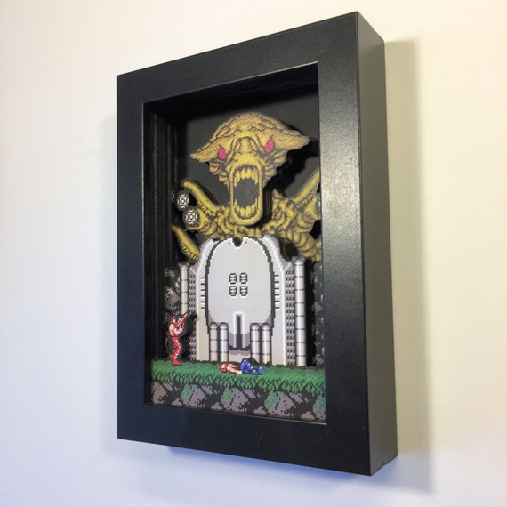 Contra Shadowbox Pocket Sized Nintendo Art for the NES
