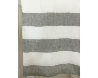 Grey And White Striped Linen Curtain, Unlined, Cabana Stripe Curtains,  Horzontal Striped Drapes