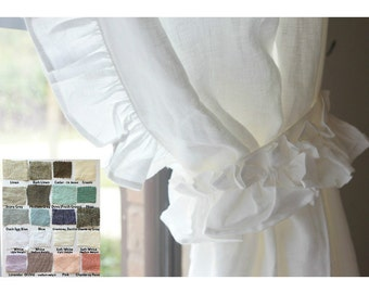 A pair of Linen curtains with ruffles on the leading edges, Nursery Curtains, ruffle curtains, extra long curtains