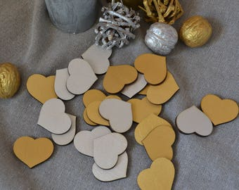 Wedding favors Wood Hearts Gold Silver guest book Wedding Decor Laser Cut Small Wood Hearts