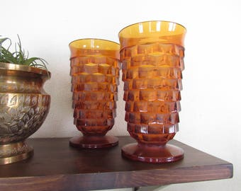 Vintage amber glassware, amber glasses, pair of glasses, vintage glass, glass drinkware, vintage drinkware, bud vase