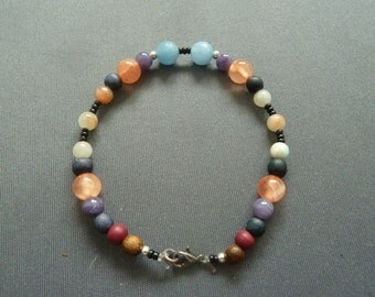Bracelet, Gemstone Bracelet, Woodpearls, Minerals,