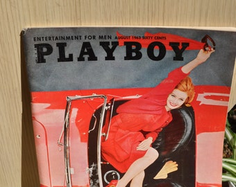 Vintage 1963 August Playboy Magazine- Centerfold Phyllis Sherwood