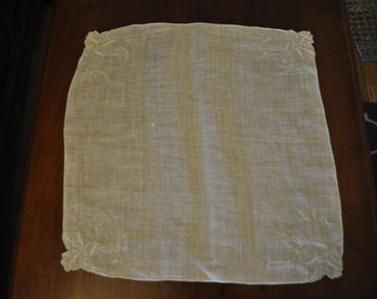 Vintage 1950s White Handkerchief with Cutout Trim and Embroidery