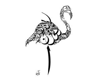 Khalil Gibran Poetry - Arabic Calligraphy Art Print - Arabic Wall Decor - Arabic Calligraphy Flamingo - Whyseencalligraphy - خليل جبران