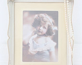 Vintage Large Photo Frame, Silver Plate and White Enameled, Bulb Glass