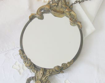 Vintage Ornate Brass Frame Small Hanging Mirror, Home Decor